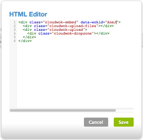 Enter HTML code with YOUR wok id
