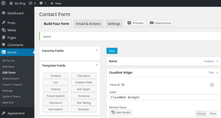 ninjaforms-and-cloudwok-wp-admin-screenshot
