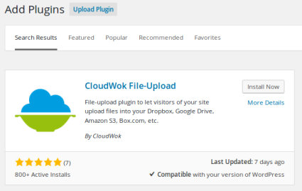 1. Install the CloudWok file-upload WordPress plugin.