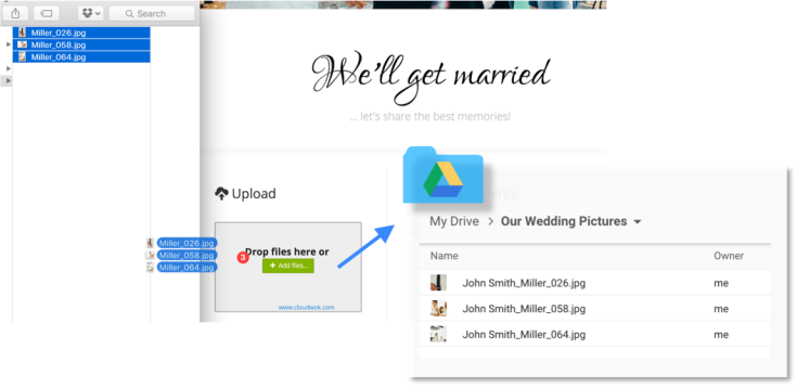 Drag and drop files in your webpage to have them uploaded to your cloud storage