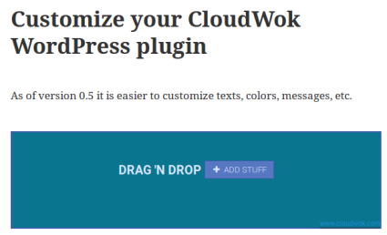 2. Example WordPress blog post with a customized CloudWok file-upload area.